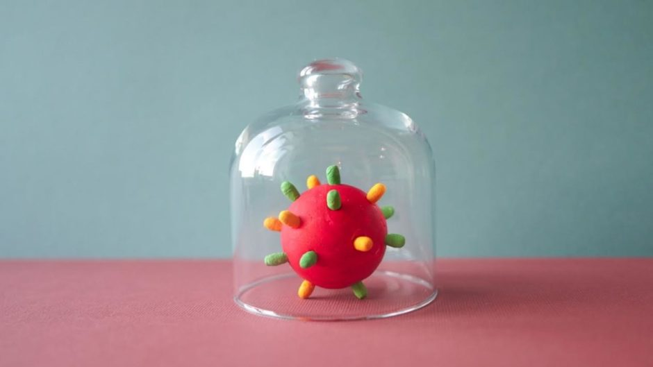 Representation of the virus being trapped under a glass bell. This virus is responsible for the deterioration of relationships.